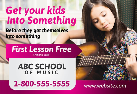 """Music School Postcard """"Get Your Kids Into Something"""""""