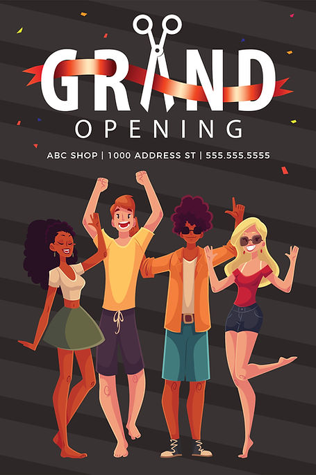 """Grand Opening Announcement Postcard """"Ribbon Cutting"""""""