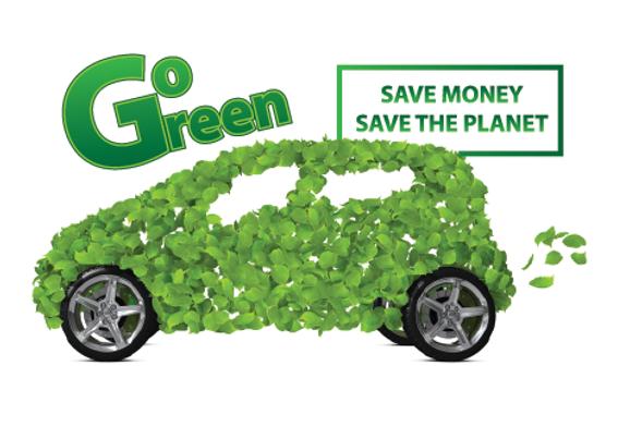 "Auto Sales Postcard""Go Green"""