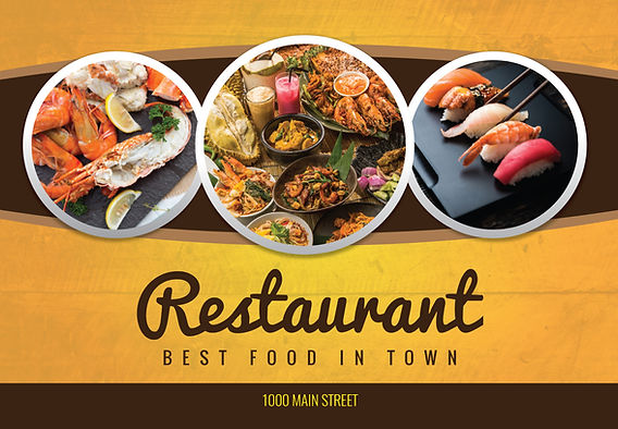 """Restaurant and Cafe Postcard """"Best Food In Town"""""""
