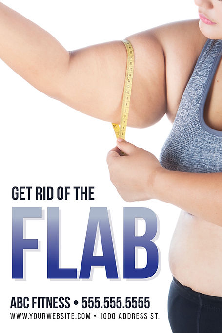 """Fitness Center and GymPostcard """"Get Rid Of The Flab"""""""