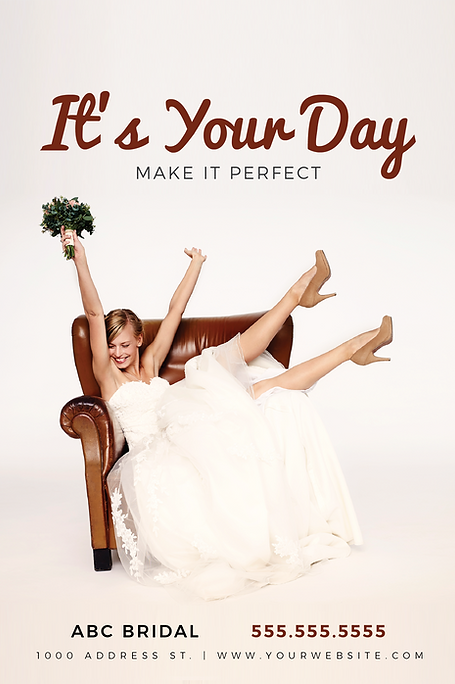 """Formal Wear and Bridal Postcard""""It's Your Day"""""""