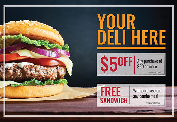 """Restaurant and Cafe Postcard """"Deli Coupons"""""""
