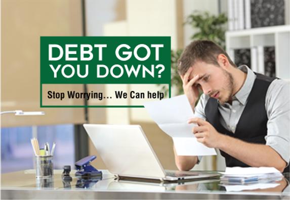 """Debt Relief Postcard""""Stop Worrying"""""""