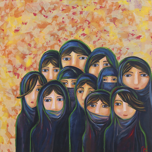 Painting of a group of Saudi ladies by artist Ahlam Alshedoukhy