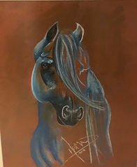Painting of a horse by the artist Hamad Al Habib