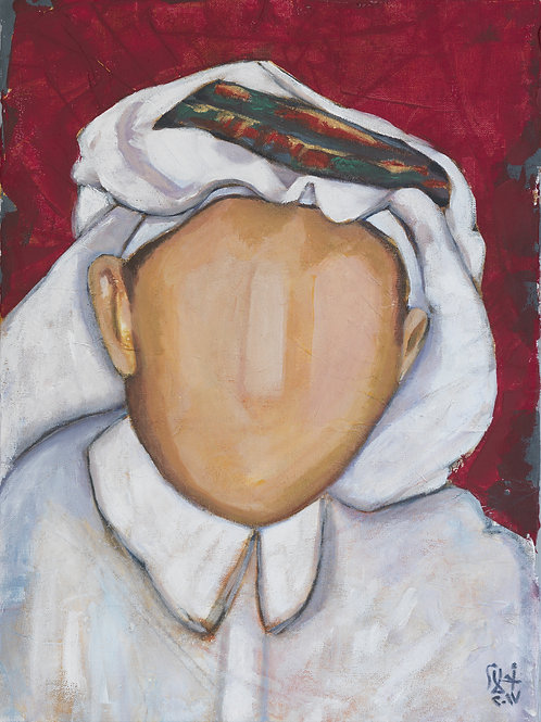 Painting of a Saudi journalist by artist Ahlam Alshedoukhy