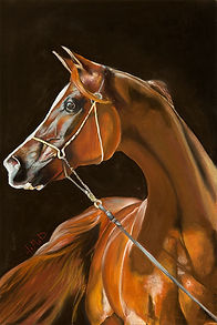 Painting of a golden brown horse by the artist Hamad Al Habib