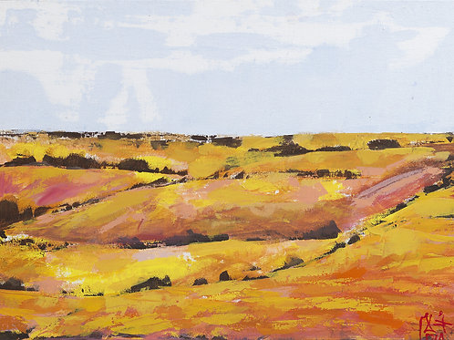 Painting of Saudi landscape by artist Ahlam Alshedoukhy
