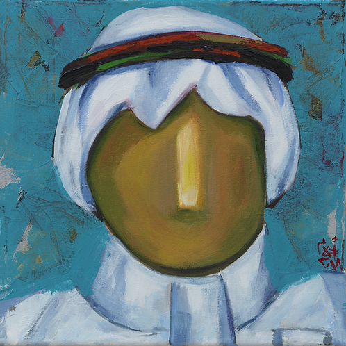 Painting of an elegant Saudi man by artist Ahlam Alshedoukhy