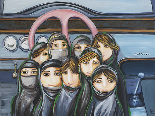 Painting of a group of Saudi ladies in front of a steering wheel by artist Ahlam Alshedoukhy