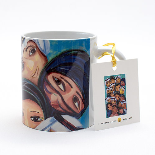 Front view of the mug with artwork of Saudi boys and girls