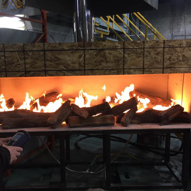 Linear fireplace shop testing