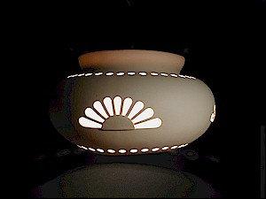 Large Pot Pendant with Rosette Design