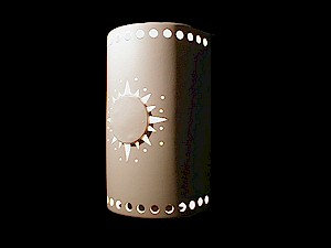 Large Cylinder Wall Sconce with Sunburst Design