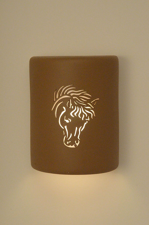 Medium Cylinder Wall Sconce with Horse Design