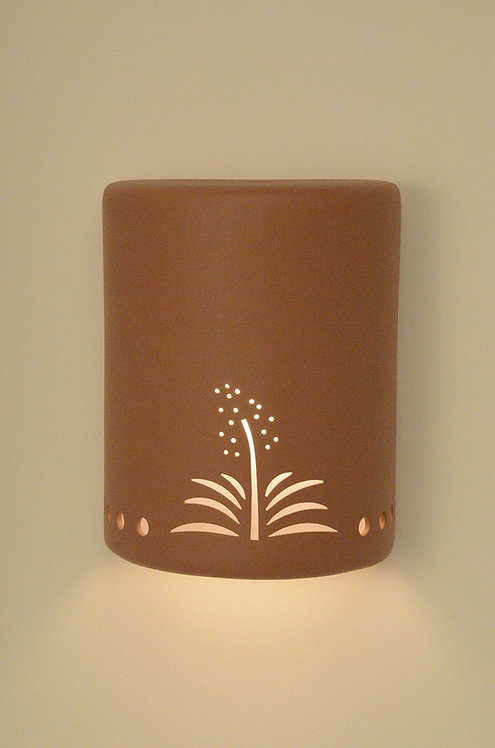Medium Cylinder Wall Sconce with Yucca Design