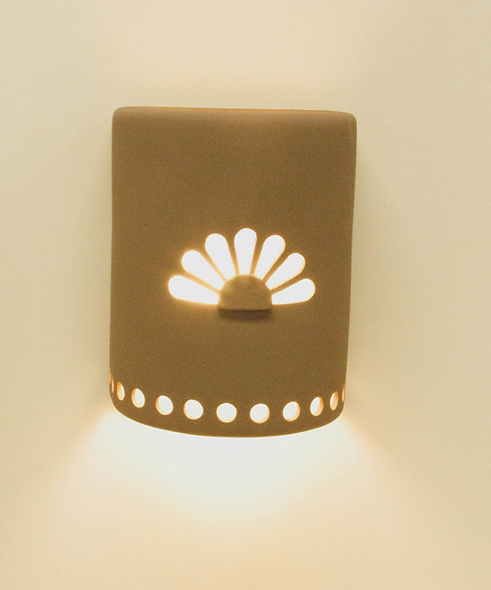 Medium Cylinder Wall Sconce with Rosette Design