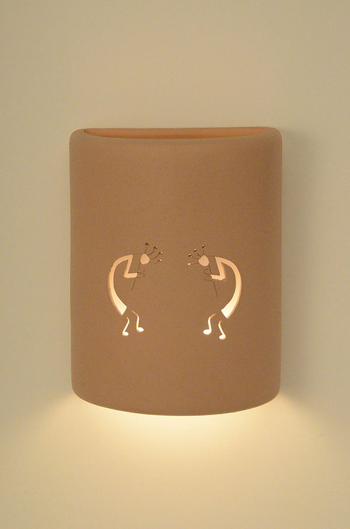 Medium Cylinder Wall Sconce with Kokopelli Design