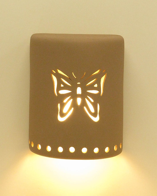 Medium Cylinder Wall Sconce with Butterfly Design