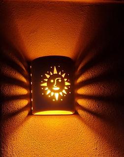 Cylinder Sconce with Sunburst Design