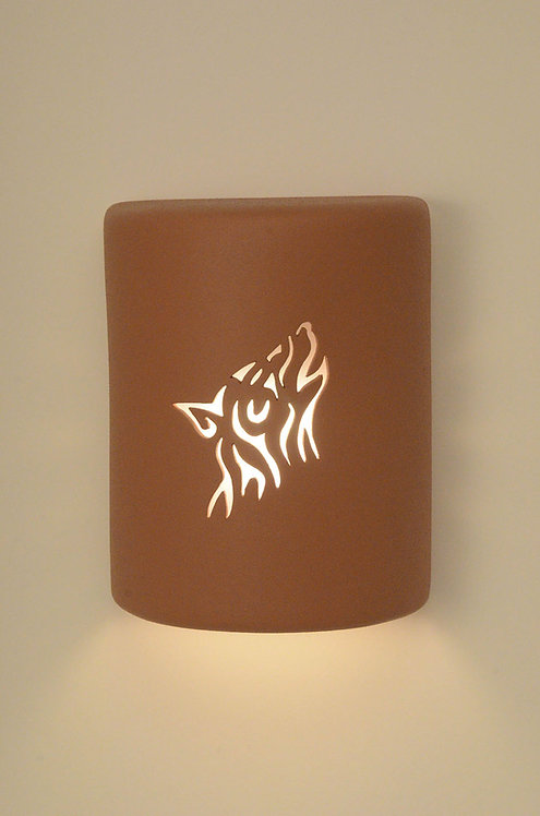 Medium Cylinder Wall Sconce with Wolf Design