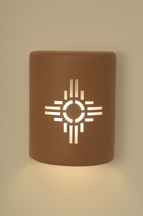 Medium Cylinder Wall Sconce with Zia Design