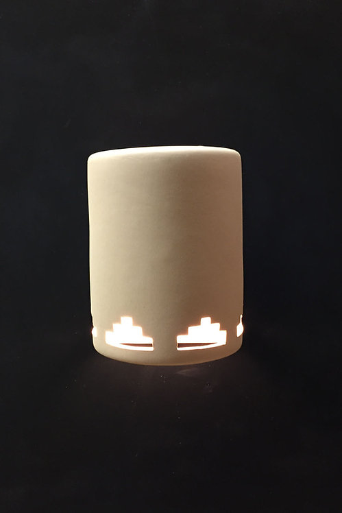 Medium Cylinder Wall Sconce with Tier Step at Bottom - Open Top