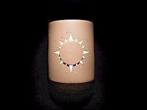 Medium Cylinder Wall Sconce with Sunburst Design