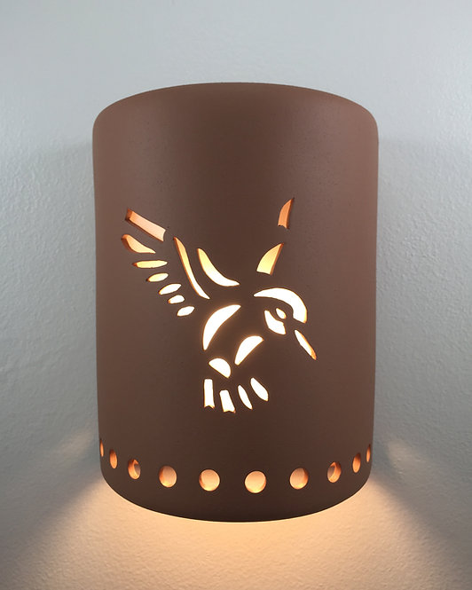 Medium Cylinder Wall Sconce with Hummingbird Design