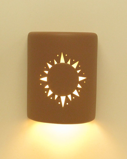 Medium Cylinder Wall Sconce with Sunburst Design