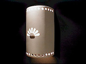 Large Cylinder Wall Sconce with Rosette Design
