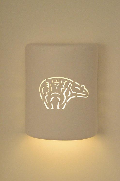 Medium Cylinder Wall Sconce with Zuni Bear Design