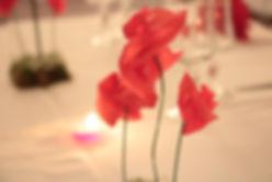 Décoration mariage coquelicots en rouge et blanc