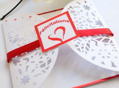 carte de félicitations mariage rouge et blanc
