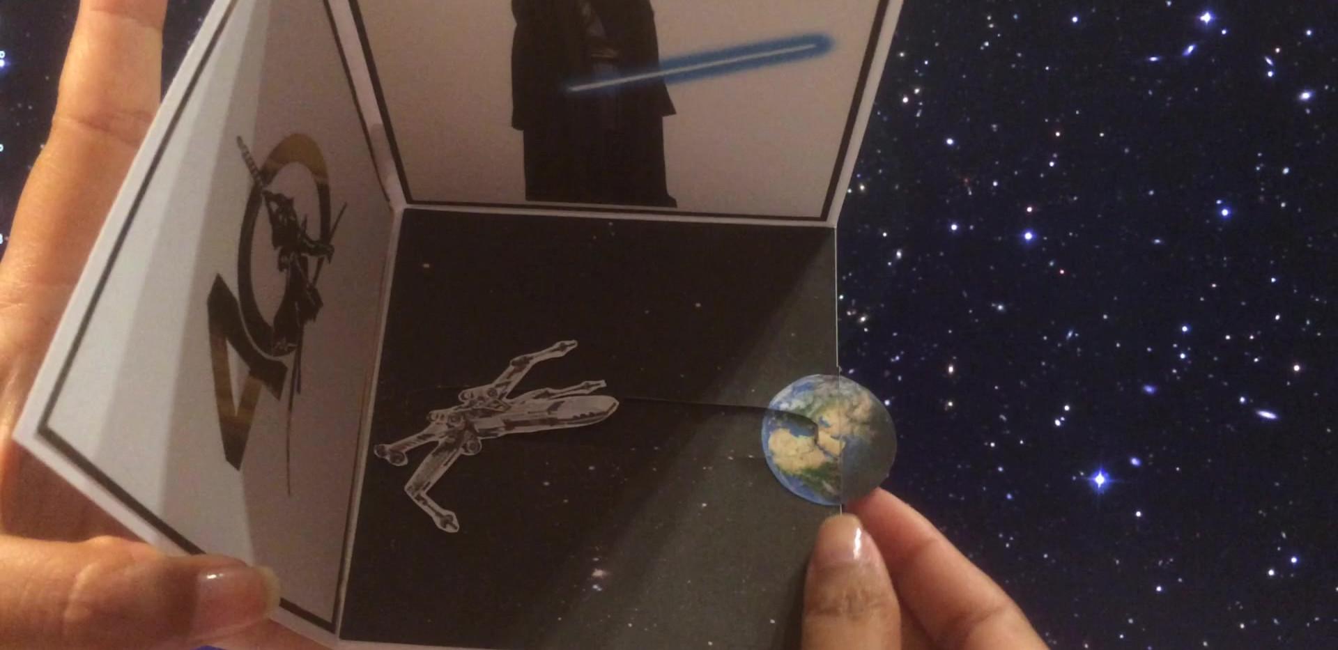 carte pop up Star Wars à tirette