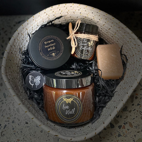 'Papillon' Gift Pack - Large Candle, Tealight Candle, Soap, Salt Scrub, & Polish