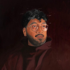 """Cloaked in Maroon/Chris"" Oil on Linen 16"" x 20"" 2021"