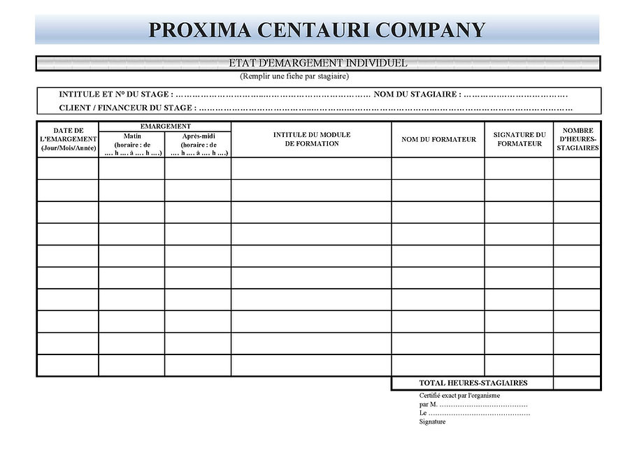 Emargement individuel PROXIMA CENTAURI.j