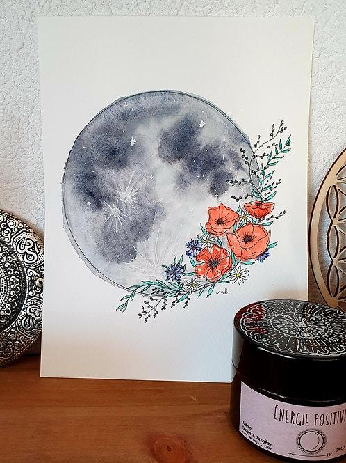 """Aquarelle """"Lune et Fleurs des Champs"""""""