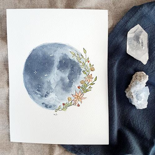 Dessin intuitif - Lune en fleur