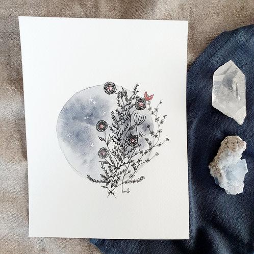 Dessin intuitif - Aquarelle Pleine Lune