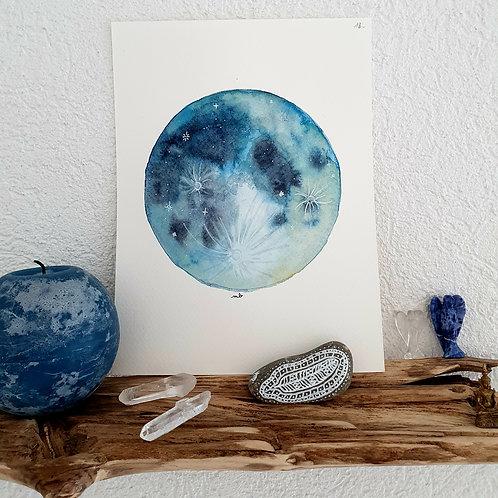 Aquarelle Pleine Lune Bleue