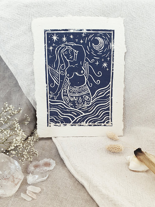 Linogravure Sirène au clair de Lune