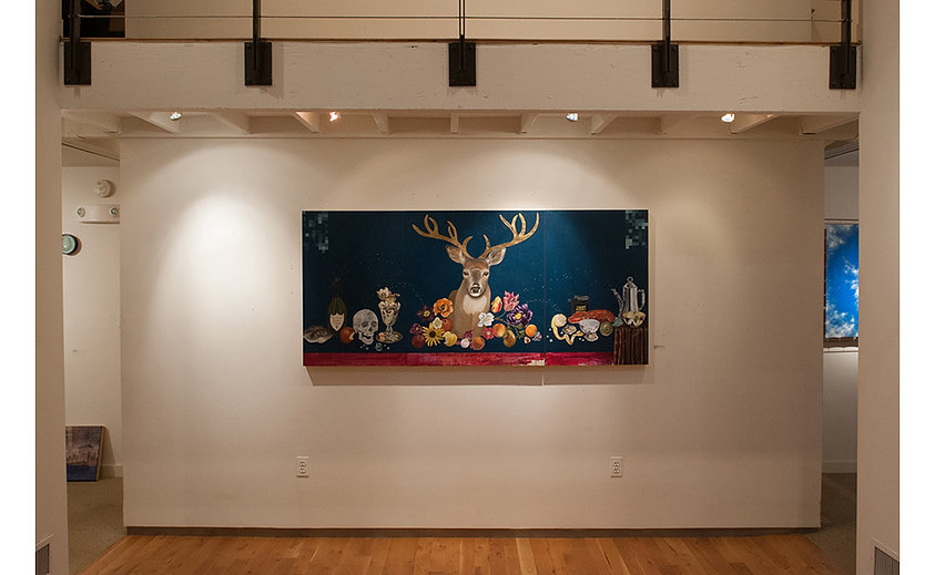 Installation of Still Life with Deer Head, Artists Circle Fine Art, by Kazaan Viveiros