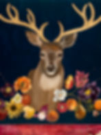 Still life banquet painting with deer head