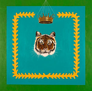 Tiger King, contemporary abstract painting of tiger head