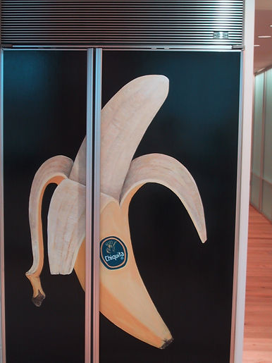 Commissioned Custom Painting of Chiquita banana for Sub-Zero Refrigerator Front