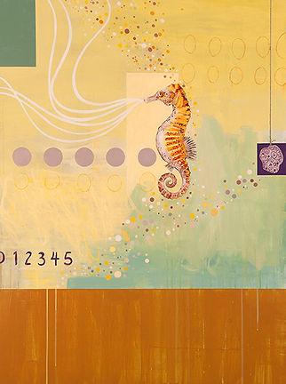 Contemporary abstract painting of sea horse by Kazaan Viveiros