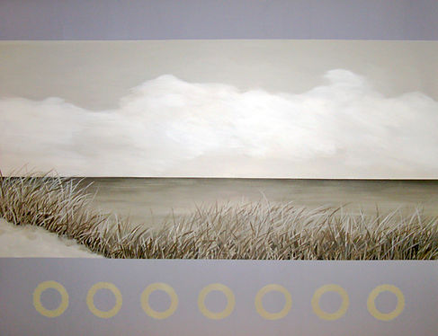 Commissioned Abstract Landscape / Seascape Painting of ocean, sea grass in lavender and gray